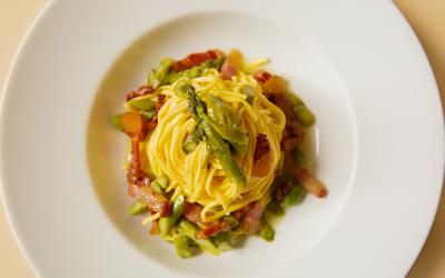 TAGLIOLINI WITH ASPARAGUS TIPS AND GUANCIALE BACON